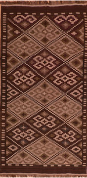 Afghan Kilim Brown Runner 10 to 12 ft Wool Carpet 110660