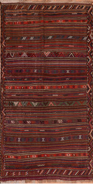 "Kilim Red Runner Flat Woven 5'1"" X 10'0""  Area Rug 100-110688"