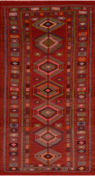 "Kilim Red Flat Woven 5'0"" X 9'5""  Area Rug 100-110700"