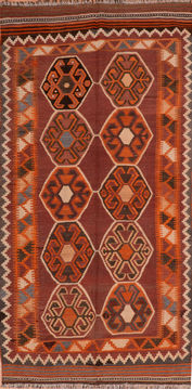 "Kilim Orange Runner Flat Woven 4'3"" X 8'10""  Area Rug 100-110720"