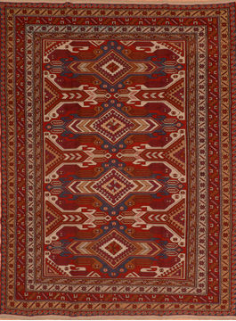 "Kilim Red Flat Woven 7'0"" X 10'3""  Area Rug 100-110758"