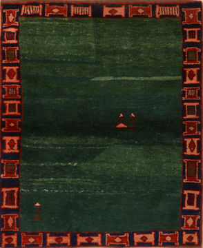 "Gabbeh Green Hand Knotted 3'8"" X 4'8""  Area Rug 100-110761"