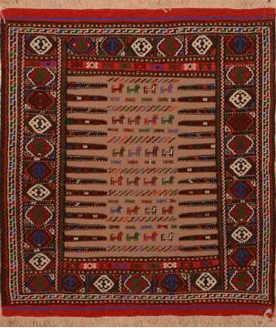 "Kilim Red Square Flat Woven 3'8"" X 4'4""  Area Rug 100-110818"