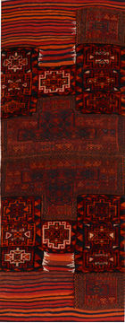 "Baluch Red Runner Hand Knotted 3'0"" X 7'10""  Area Rug 100-110845"