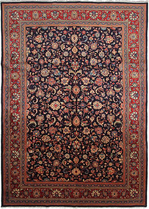 Persian Sarouk Blue Rectangle 9x12 Ft Wool Carpet 110849