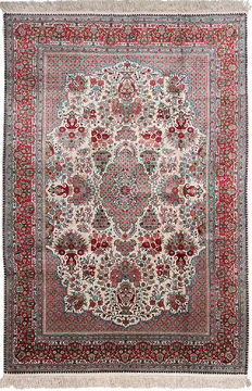 "Qum White Hand Knotted 6'0"" X 9'0""  Area Rug 254-110851"