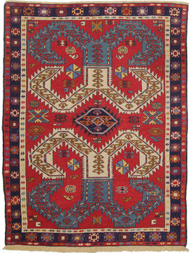 "Kilim Red Hand Knotted 4'10"" X 6'5""  Area Rug 254-110855"