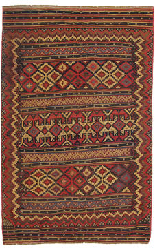 "Kilim Red Hand Knotted 4'5"" X 7'1""  Area Rug 254-110861"