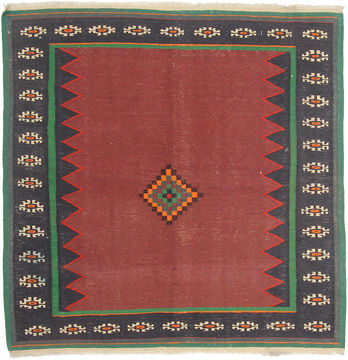 "Kilim Red Square Hand Knotted 4'7"" X 4'7""  Area Rug 254-110865"