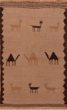 Afghan Kilim Beige Rectangle 3x4 ft Wool Carpet 110892