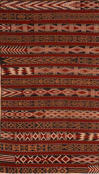 "Kilim Red Flat Woven 6'6"" X 12'0""  Area Rug 100-110905"