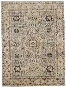 "Mamluk Grey Hand Knotted 9'4"" X 12'2""  Area Rug 254-110909"