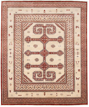 "Shiraz Beige Hand Knotted 8'1"" X 9'8""  Area Rug 254-110914"