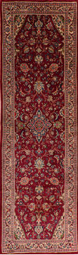 "Sarouk Red Runner Hand Knotted 4'8"" X 14'9""  Area Rug 100-110932"
