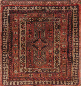 "Baluch Brown Square Hand Knotted 1'7"" X 1'7""  Area Rug 100-110964"