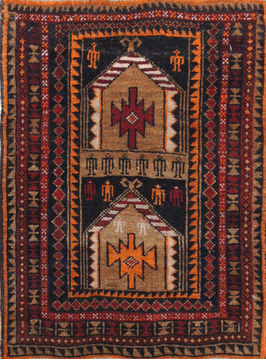 "Baluch Brown Square Hand Knotted 1'8"" X 2'3""  Area Rug 100-110966"