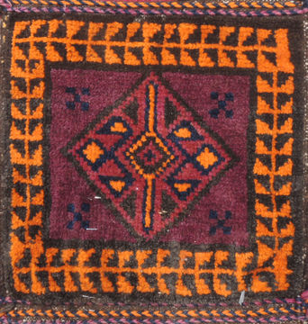"Baluch Purple Square Hand Knotted 1'0"" X 1'0""  Area Rug 100-110969"
