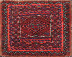 Afghan Turkman Red Square 4 ft and Smaller Wool Carpet 110973