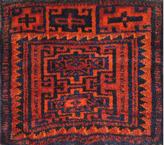 Afghan Turkman Red Square 4 ft and Smaller Wool Carpet 111006