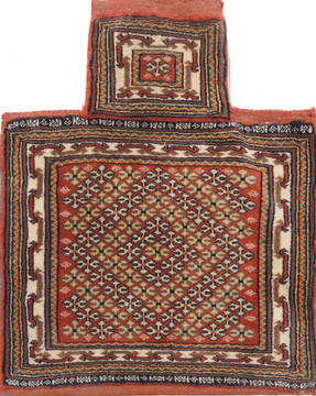 "Baluch Red Square Hand Knotted 1'11"" X 2'3""  Area Rug 100-111024"