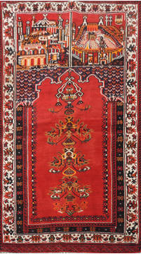 Afghan Baluch Red Rectangle 3x5 ft Wool Carpet 111042