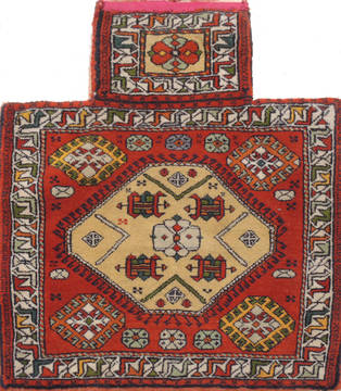 "Baluch Red Square Hand Knotted 2'0"" X 2'1""  Area Rug 100-111044"