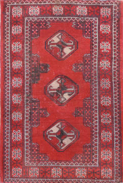 "Baluch Red Hand Knotted 2'0"" X 2'11""  Area Rug 134-111076"