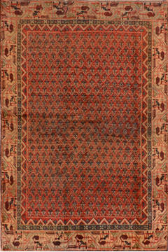 "Botemir Red Hand Knotted 4'0"" X 6'4""  Area Rug 134-111096"