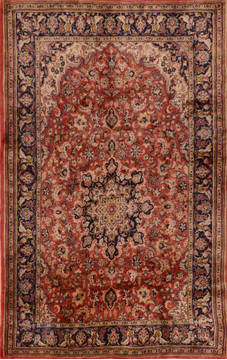 "Kashan Red Hand Knotted 4'8"" X 8'1""  Area Rug 134-111106"