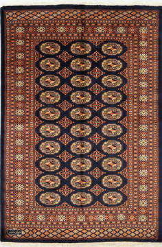 "Bokhara Blue Hand Knotted 4'9"" X 7'0""  Area Rug 700-111152"