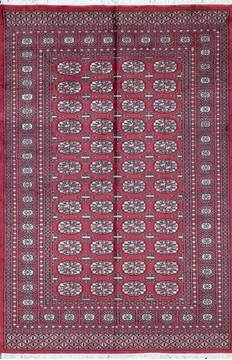 "Bokhara Red Hand Knotted 4'5"" X 6'6""  Area Rug 700-111160"