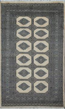 Pakistani Bokhara Beige Rectangle 5x7 ft Wool Carpet 111178