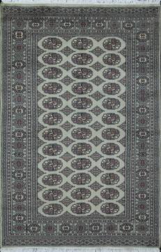 Pakistani Bokhara Grey Rectangle 4x6 ft Wool Carpet 111179