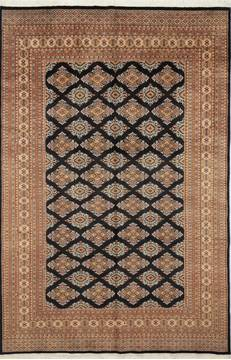 "Jaldar Black Hand Knotted 6'2"" X 9'1""  Area Rug 700-111215"