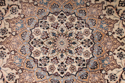 Persian Nain Beige Rectangle 12x15 Ft Wool And Silk Carpet