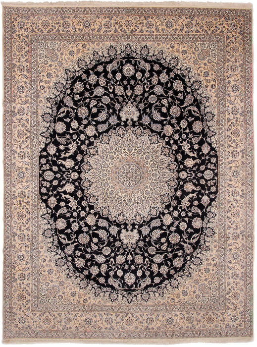 Persian Nain Beige Rectangle 12x15 Ft Wool And Silk Carpet 111873