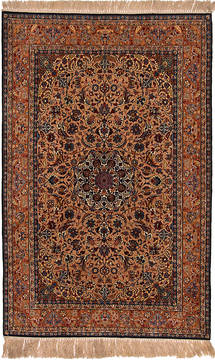 "Isfahan Beige Hand Knotted 4'10"" X 7'10""  Area Rug 254-111874"