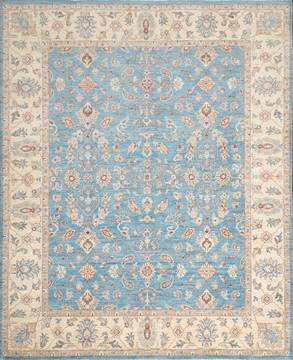 Pakistani Chobi Blue Rectangle 8x10 ft Wool Carpet 111893