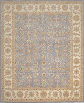 Pakistani Chobi Blue Rectangle 8x10 ft Wool Carpet 111896