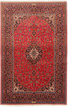"Kashan Red Hand Knotted 4'9"" X 7'3""  Area Rug 254-111912"