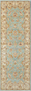 "Chobi Blue Runner Hand Knotted 2'4"" X 6'9""  Area Rug 700-111932"