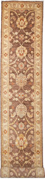 "Chobi Brown Runner Hand Knotted 2'9"" X 19'4""  Area Rug 700-111946"