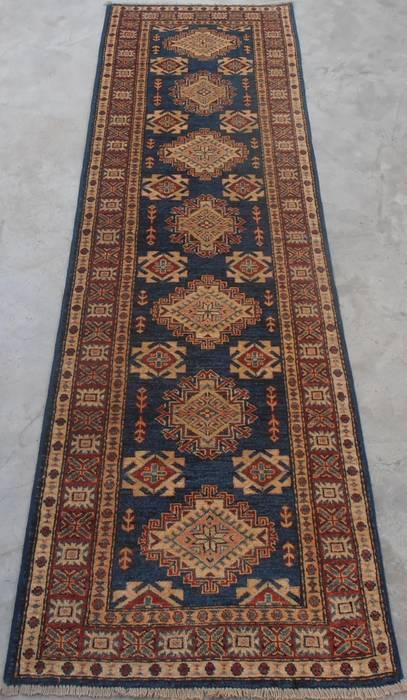Afghan Kazak Blue Runner 6 To 9 Ft Wool Carpet 111955