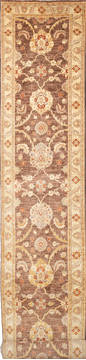 "Chobi Brown Runner Hand Knotted 2'7"" X 19'4""  Area Rug 700-111962"