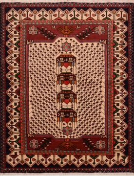 Persian Abadeh Red Rectangle 3x5 ft Wool Carpet 111972