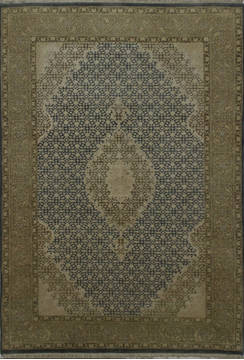 Indian Mahi Beige Rectangle 4x6 ft Wool and Silk Carpet 112043