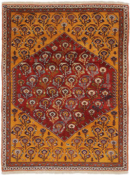 "Qashqai Orange Hand Knotted 4'6"" X 6'0""  Area Rug 254-112067"
