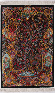 "Qom Black Hand Knotted 2'4"" X 3'2""  Area Rug 254-112068"
