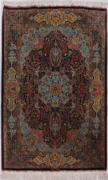 "Qom Multicolor Hand Knotted 2'7"" X 4'0""  Area Rug 254-112071"