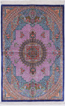 "Qom Blue Hand Knotted 3'3"" X 5'0""  Area Rug 254-112073"